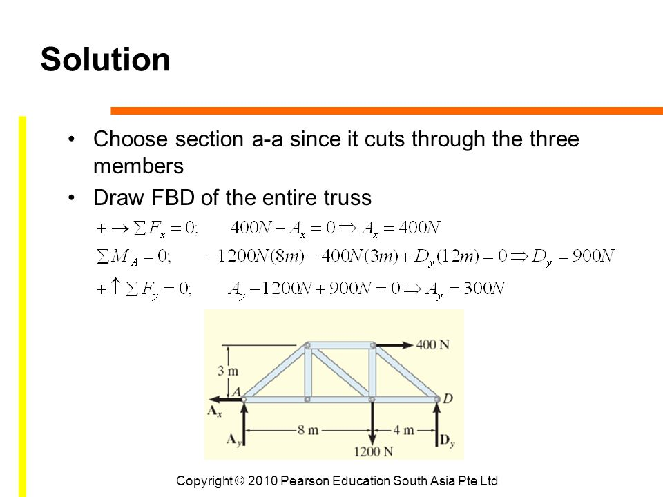 Copyright © 2010 Pearson Education South Asia Pte Ltd Solution Choose section a-a since it cuts through the three members Draw FBD of the entire truss