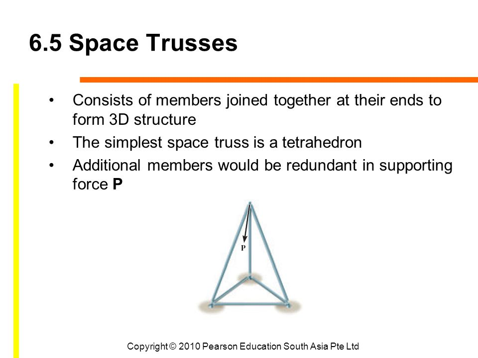 Copyright © 2010 Pearson Education South Asia Pte Ltd 6.5 Space Trusses Consists of members joined together at their ends to form 3D structure The simplest space truss is a tetrahedron Additional members would be redundant in supporting force P