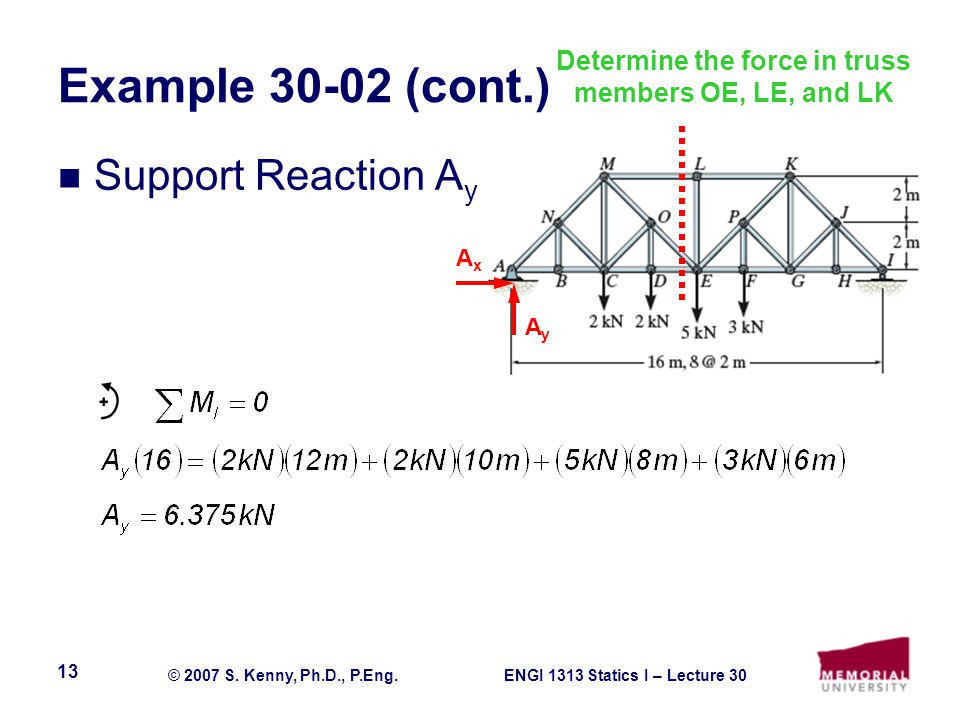ENGI 1313 Statics I – Lecture 30© 2007 S. Kenny, Ph.D., P.Eng. 13 Example 30-02 (cont.) Support Reaction A y AyAy AxAx Determine the force in truss me
