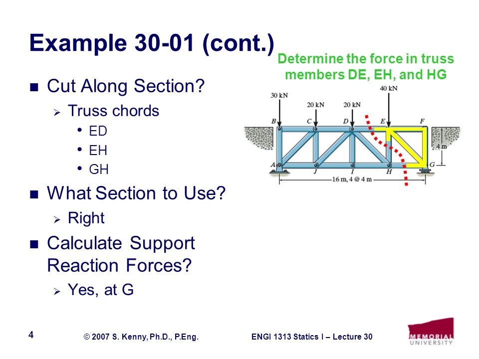 ENGI 1313 Statics I – Lecture 30© 2007 S. Kenny, Ph.D., P.Eng. 4 Example 30-01 (cont.) Cut Along Section?  Truss chords ED EH GH What Section to Use?