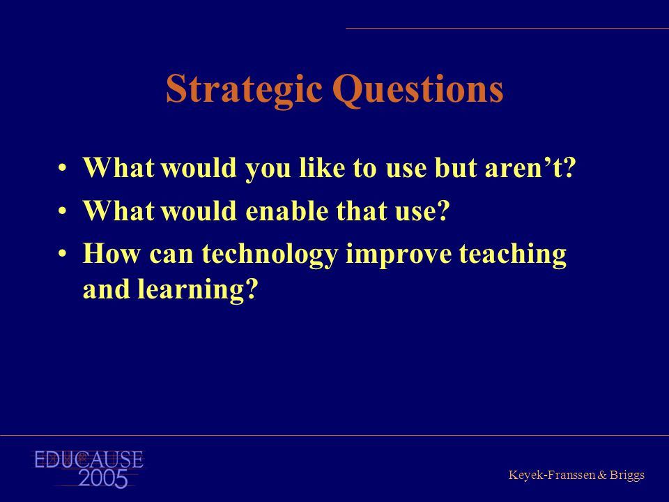 Keyek-Franssen & Briggs Strategic Questions What would you like to use but aren't? What would enable that use? How can technology improve teaching and