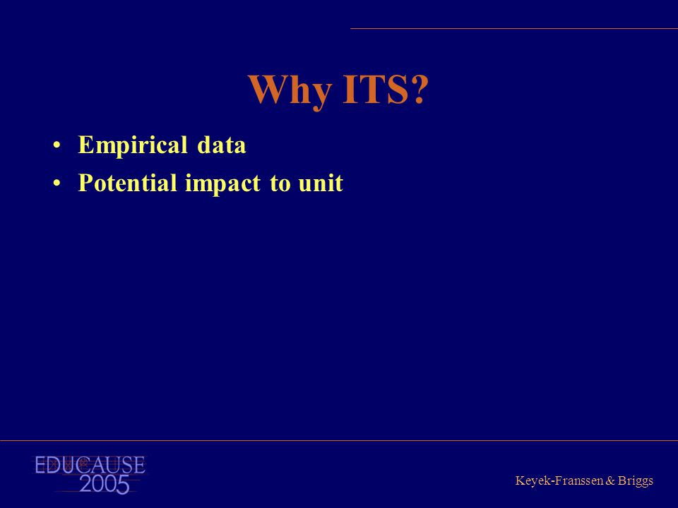 Keyek-Franssen & Briggs Why ITS? Empirical data Potential impact to unit