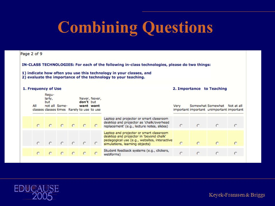 Keyek-Franssen & Briggs Combining Questions
