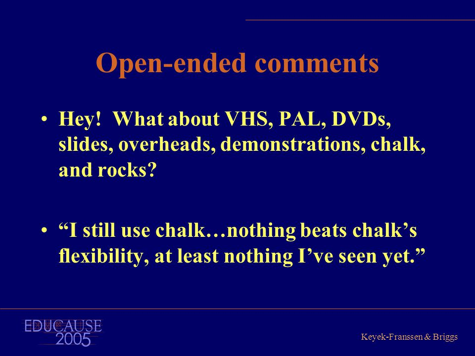 "Keyek-Franssen & Briggs Open-ended comments Hey! What about VHS, PAL, DVDs, slides, overheads, demonstrations, chalk, and rocks? ""I still use chalk…no"