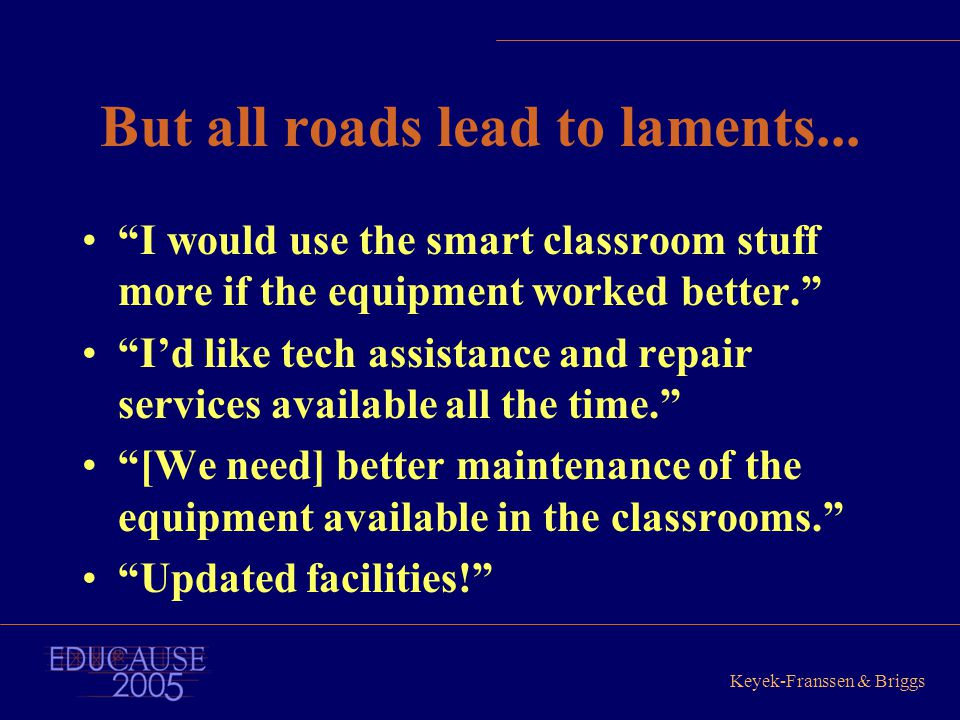 "Keyek-Franssen & Briggs But all roads lead to laments... ""I would use the smart classroom stuff more if the equipment worked better."" ""I'd like tech a"