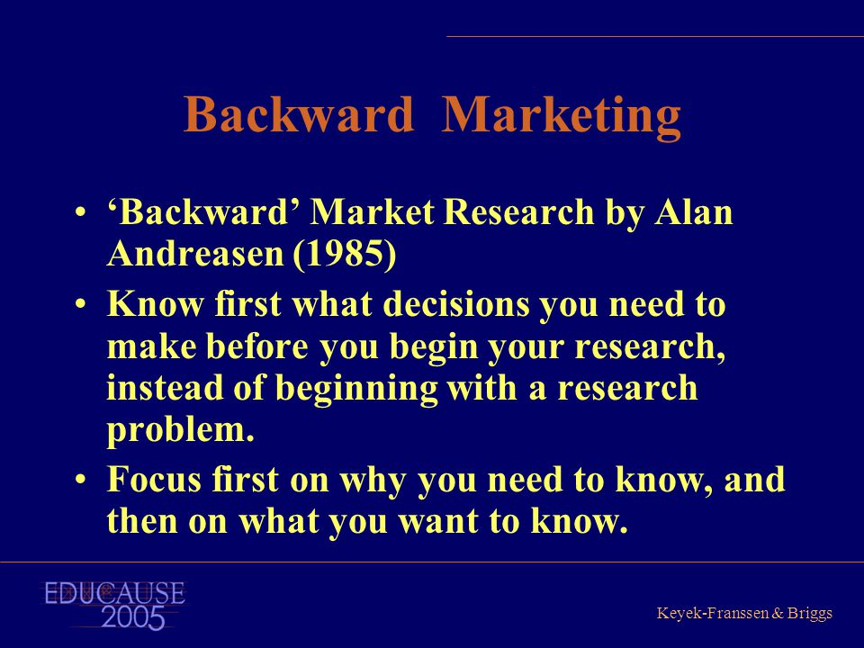 Keyek-Franssen & Briggs Backward Marketing 'Backward' Market Research by Alan Andreasen (1985) Know first what decisions you need to make before you b