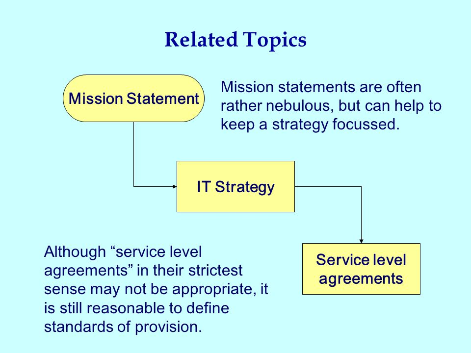 Related Topics Mission Statement IT Strategy Service level agreements Although service level agreements in their strictest sense may not be appropriate, it is still reasonable to define standards of provision.