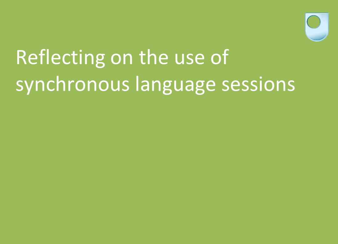 Reflecting on the use of synchronous language sessions
