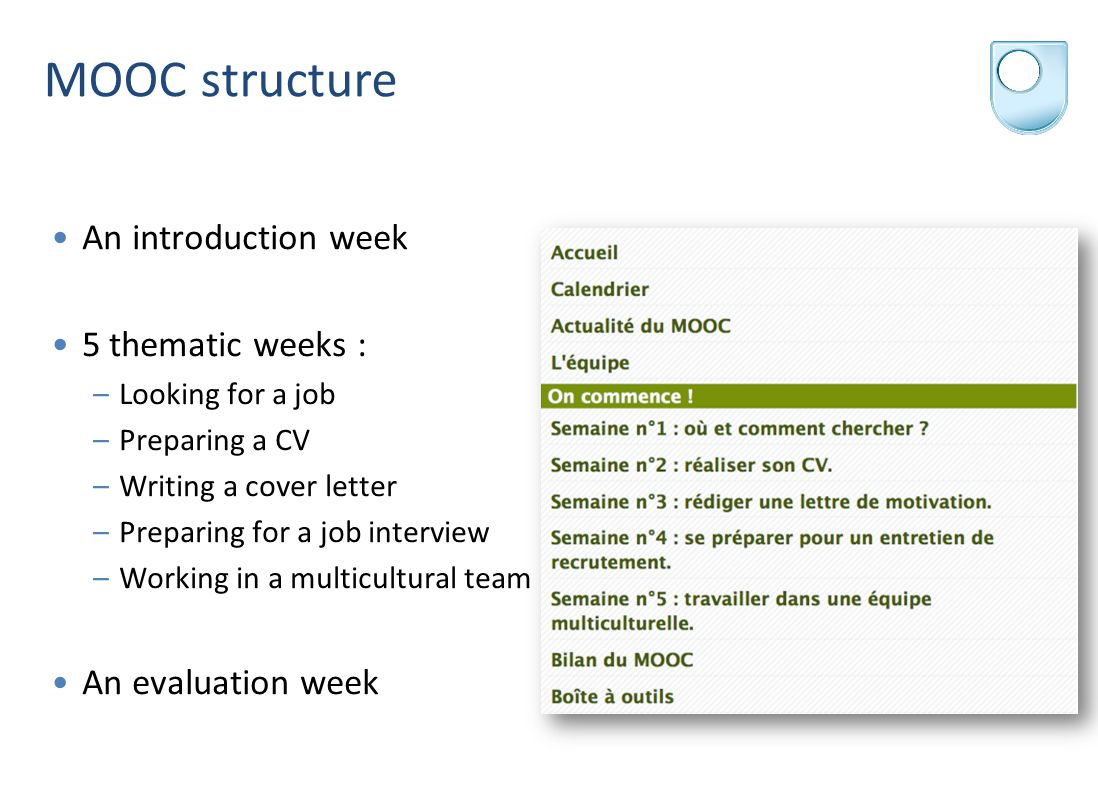 MOOC structure An introduction week 5 thematic weeks : –Looking for a job –Preparing a CV –Writing a cover letter –Preparing for a job interview –Working in a multicultural team An evaluation week