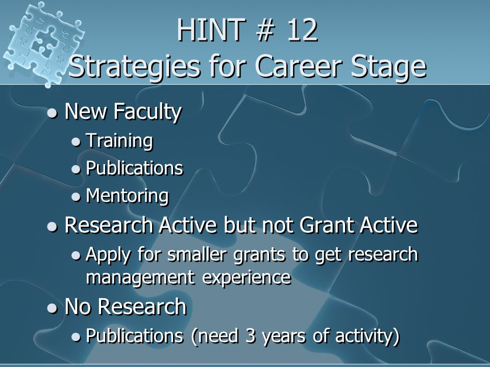 HINT # 12 Strategies for Career Stage New Faculty Training Publications Mentoring Research Active but not Grant Active Apply for smaller grants to get research management experience No Research Publications (need 3 years of activity) New Faculty Training Publications Mentoring Research Active but not Grant Active Apply for smaller grants to get research management experience No Research Publications (need 3 years of activity)
