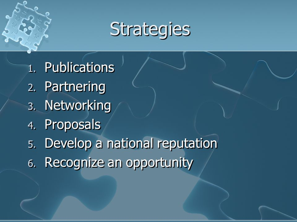 Strategies 1. Publications 2. Partnering 3. Networking 4.