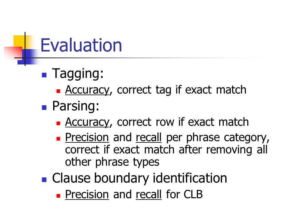 Evaluation Tagging: Accuracy, correct tag if exact match Parsing: Accuracy, correct row if exact match Precision and recall per phrase category, correct if exact match after removing all other phrase types Clause boundary identification Precision and recall for CLB