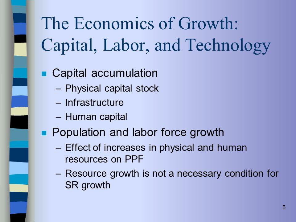5 The Economics of Growth: Capital, Labor, and Technology n Capital accumulation –Physical capital stock –Infrastructure –Human capital n Population a