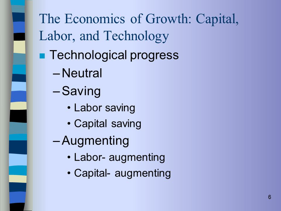 6 The Economics of Growth: Capital, Labor, and Technology n Technological progress –Neutral –Saving Labor saving Capital saving –Augmenting Labor- aug