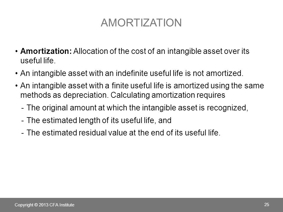 AMORTIZATION Amortization: Allocation of the cost of an intangible asset over its useful life. An intangible asset with an indefinite useful life is n