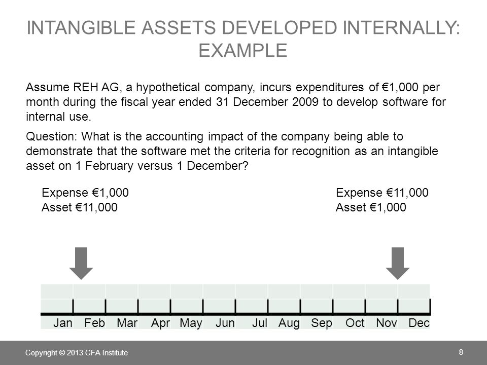 INTANGIBLE ASSETS DEVELOPED INTERNALLY: EXAMPLE Assume REH AG, a hypothetical company, incurs expenditures of €1,000 per month during the fiscal year