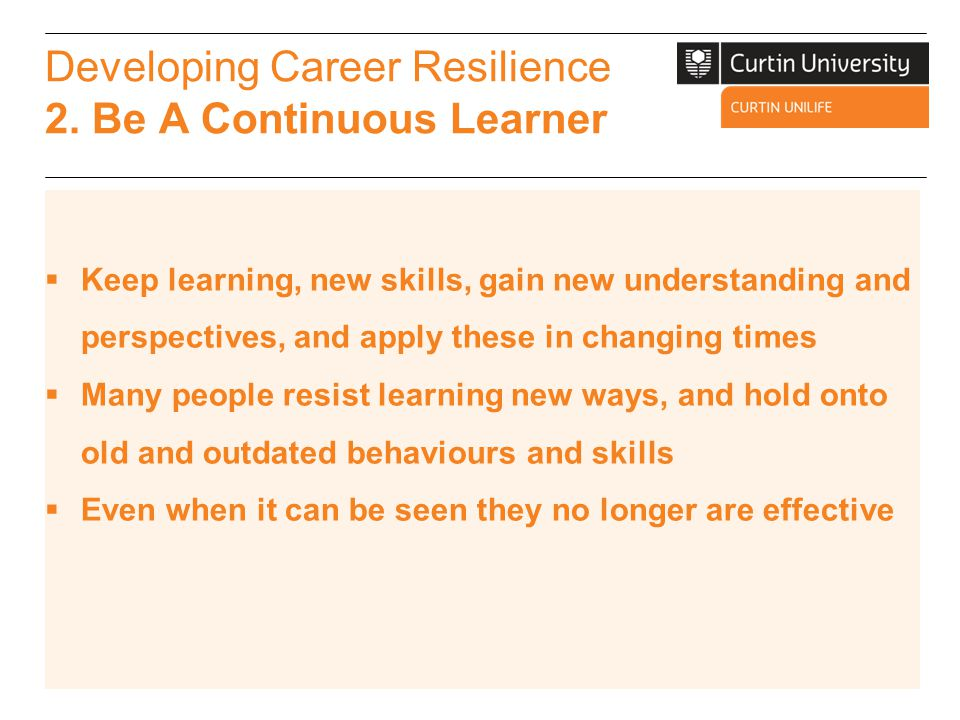 Developing Career Resilience 3.