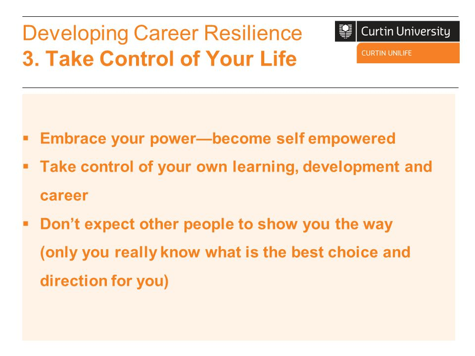 Developing Career Resilience 4.