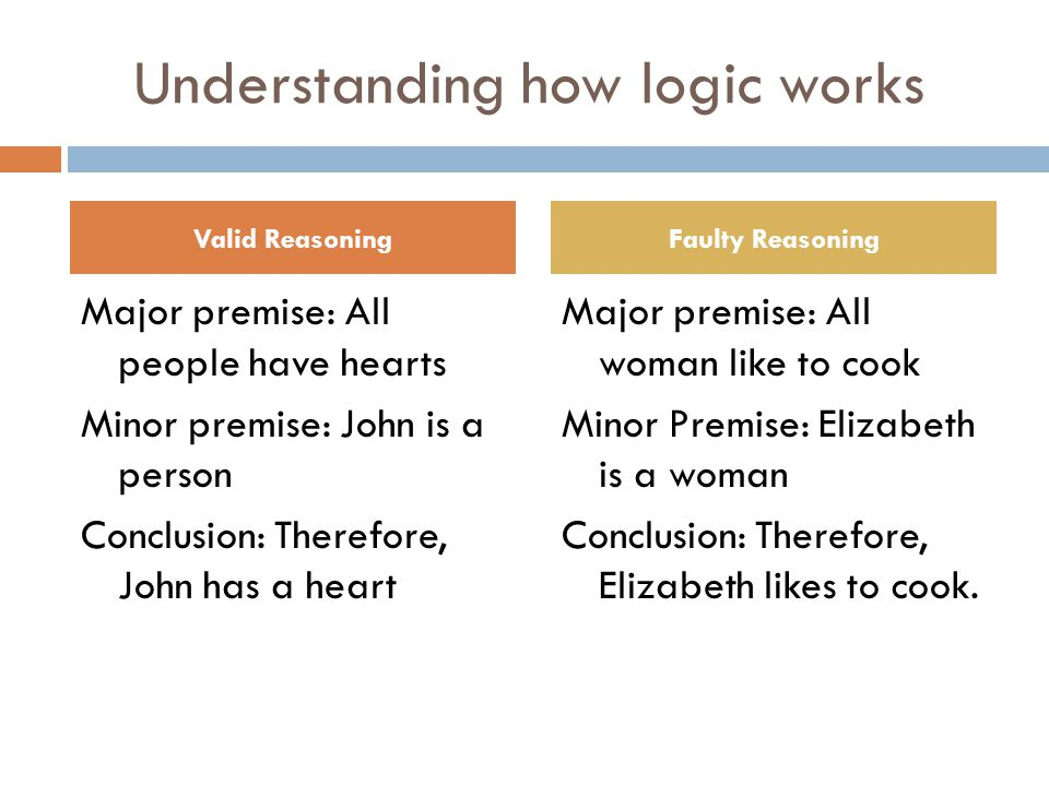 Understanding how logic works Major premise: All people have hearts Minor premise: John is a person Conclusion: Therefore, John has a heart Major prem