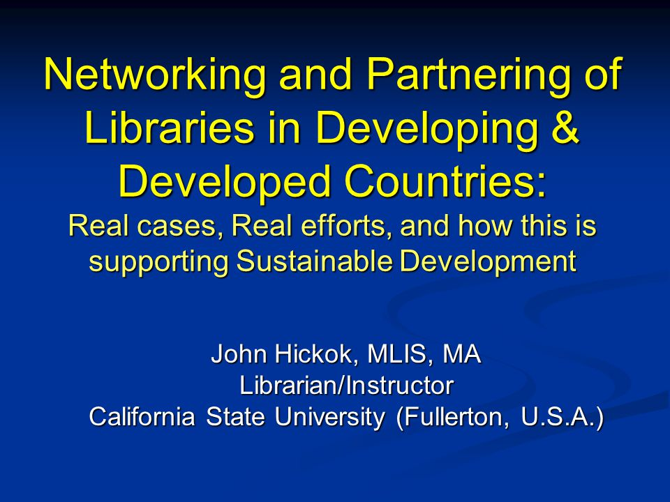 Introduction About me: Coordinator of Library Instruction, California State University (Fullerton campus) Coordinator of Library Instruction, California State University (Fullerton campus) Specialization: Library instruction to International Students (+ ESL instruction) Specialization: Library instruction to International Students (+ ESL instruction) Member: American Library Association International Relations Round Table Member: American Library Association International Relations Round Table