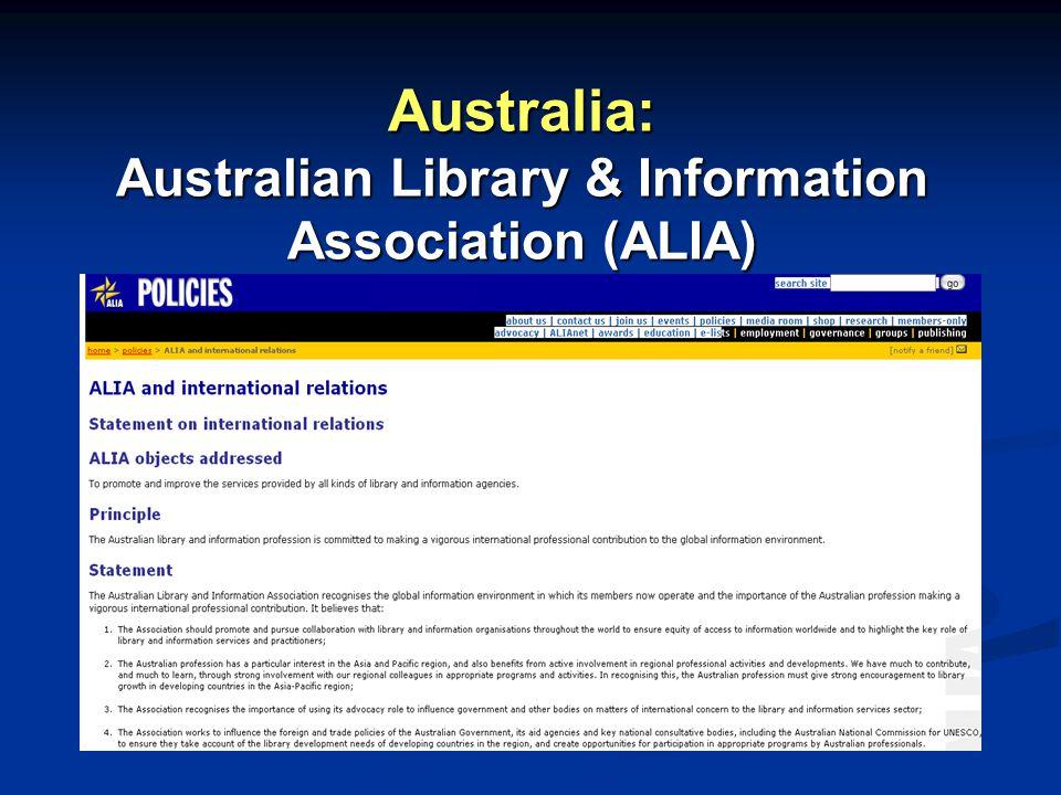 Australia: Australian Library & Information Association (ALIA)