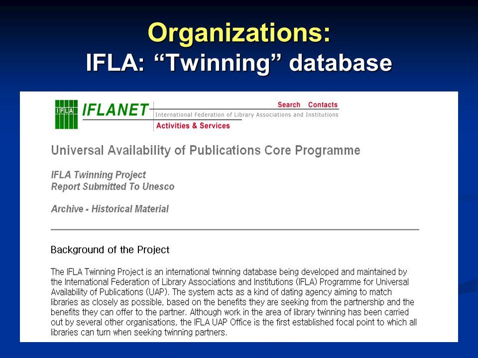 Organizations: IFLA: Twinning database