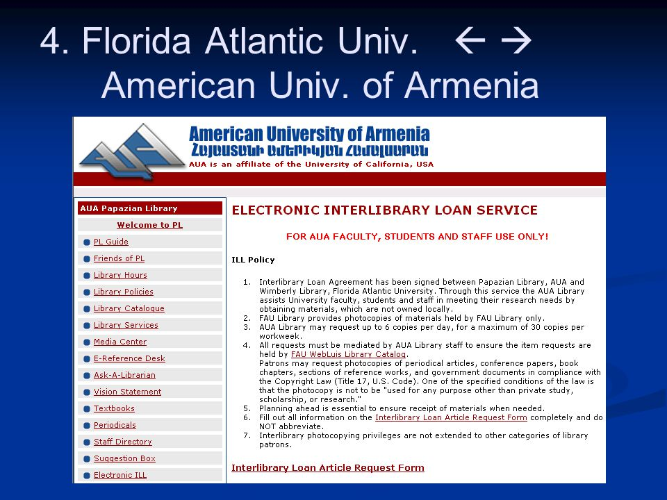 4. Florida Atlantic Univ.   American Univ. of Armenia