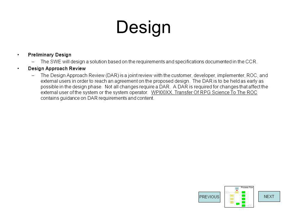 Design Preliminary Design –The SWE will design a solution based on the requirements and specifications documented in the CCR.