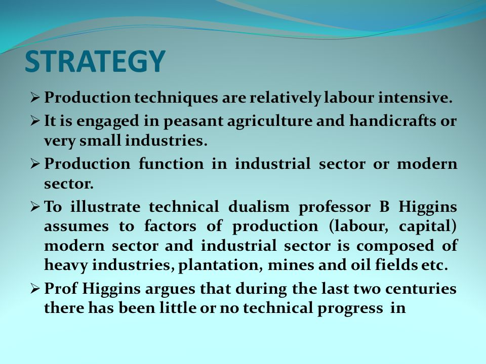 STRATEGY  Production techniques are relatively labour intensive.  It is engaged in peasant agriculture and handicrafts or very small industries.  P