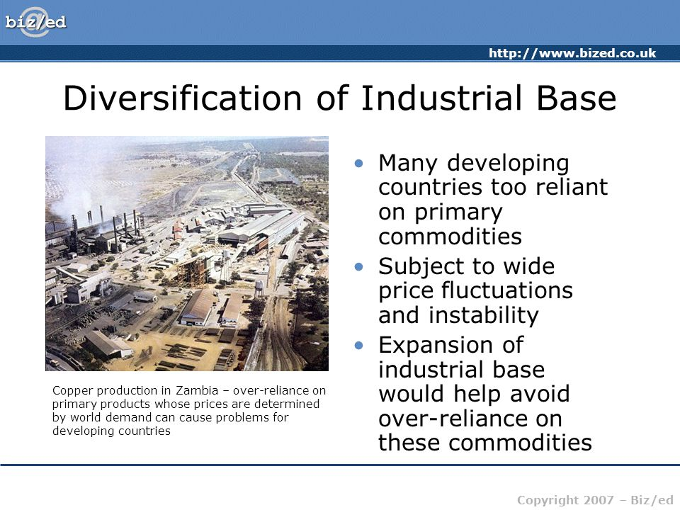 Copyright 2007 – Biz/ed Diversification of Industrial Base Many developing countries too reliant on primary commodities Subject to wide price fluctuations and instability Expansion of industrial base would help avoid over-reliance on these commodities Copper production in Zambia – over-reliance on primary products whose prices are determined by world demand can cause problems for developing countries
