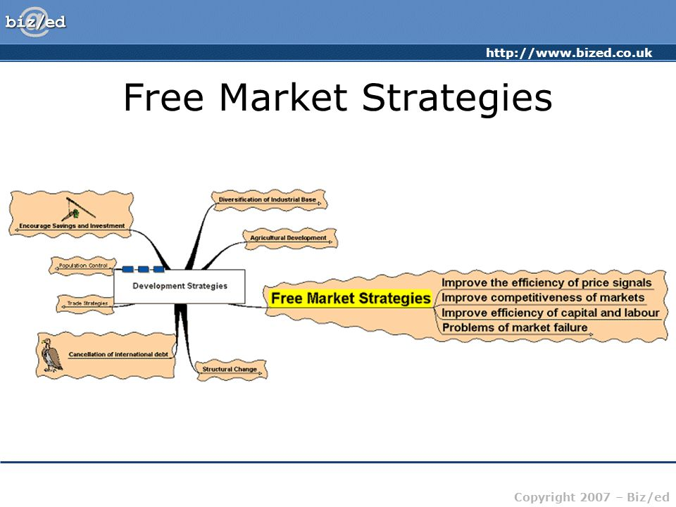 http://www.bized.co.uk Copyright 2007 – Biz/ed Free Market Strategies