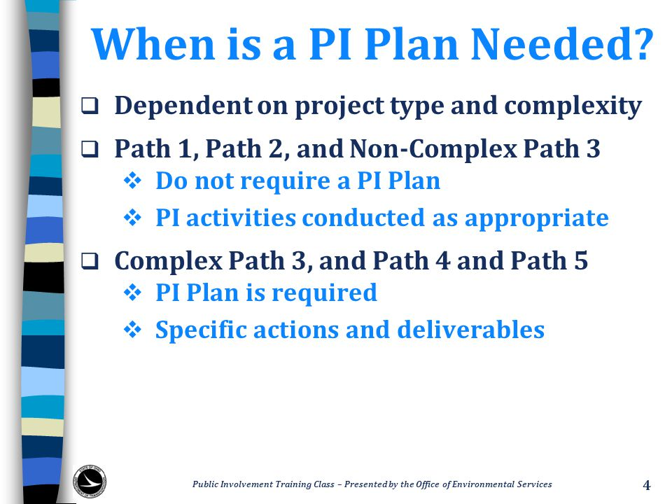 When is a PI Plan Needed.
