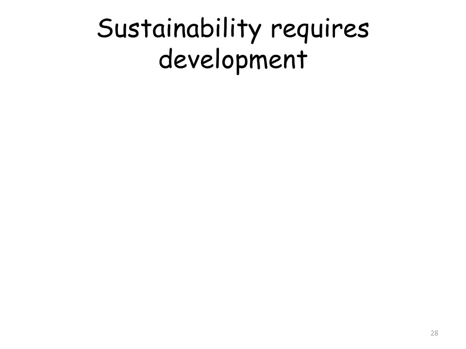 Sustainability requires development 28