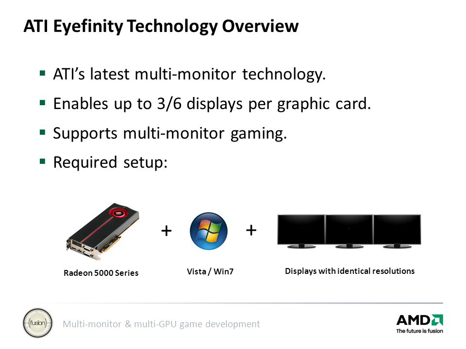Multi-monitor & multi-GPU game development ATI Eyefinity Technology Overview  ATI's latest multi-monitor technology.
