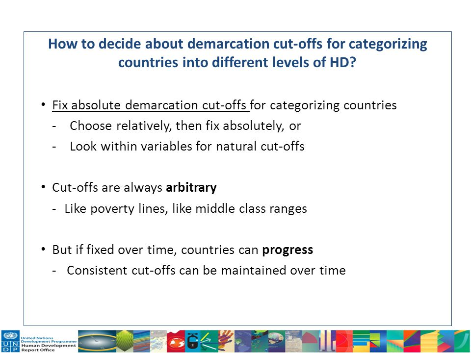 How to decide about demarcation cut-offs for categorizing countries into different levels of HD? Fix absolute demarcation cut-offs for categorizing co