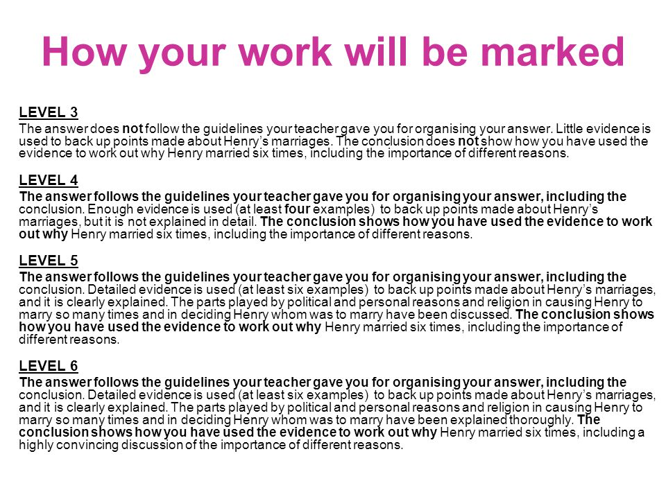 How your work will be marked LEVEL 3 The answer does not follow the guidelines your teacher gave you for organising your answer.