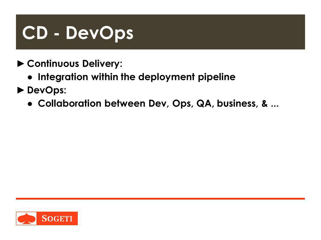 Title | Plaats| Datum | 12 ► Continuous Delivery: ● Integration within the deployment pipeline ► DevOps: ● Collaboration between Dev, Ops, QA, business, &...
