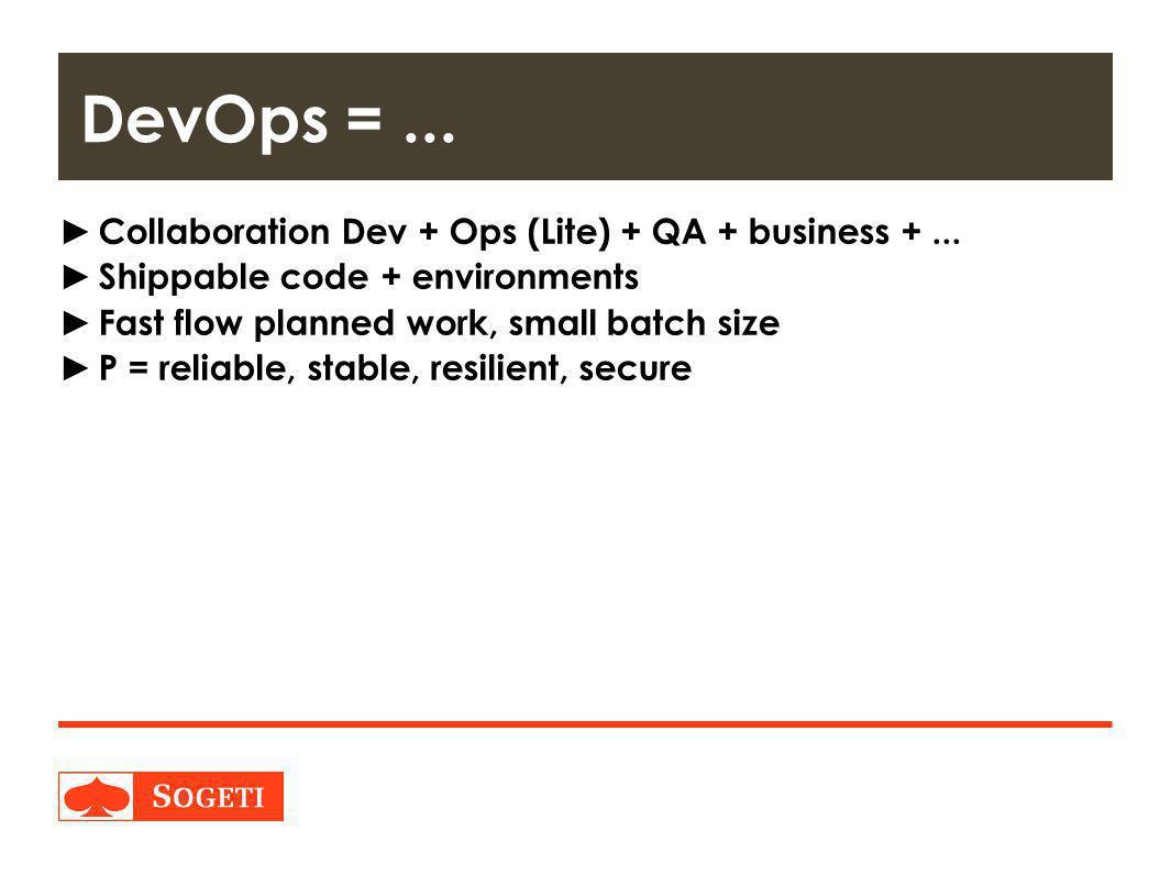Title | Plaats| Datum | 18 ► Collaboration Dev + Ops (Lite) + QA + business +...