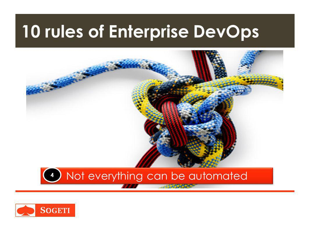 Title | Plaats| Datum | 30 10 rules of Enterprise DevOps Not everything can be automated 4 4