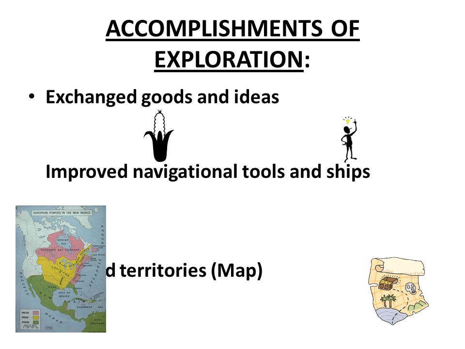 ACCOMPLISHMENTS OF EXPLORATION: Exchanged goods and ideas Improved navigational tools and ships Claimed territories (Map)