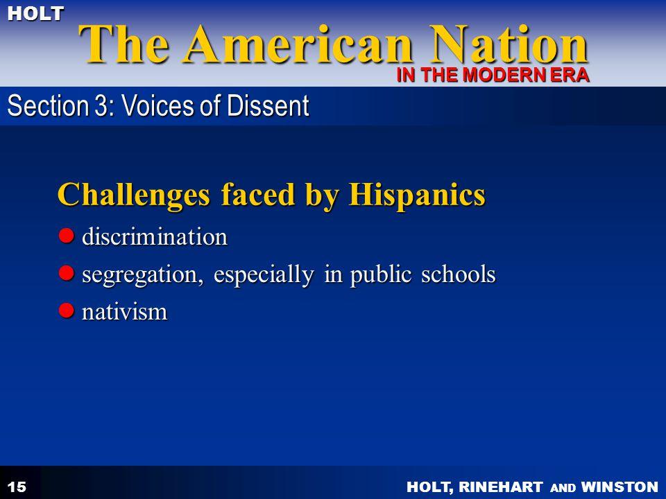 HOLT, RINEHART AND WINSTON The American Nation HOLT IN THE MODERN ERA 15 Challenges faced by Hispanics discrimination discrimination segregation, espe
