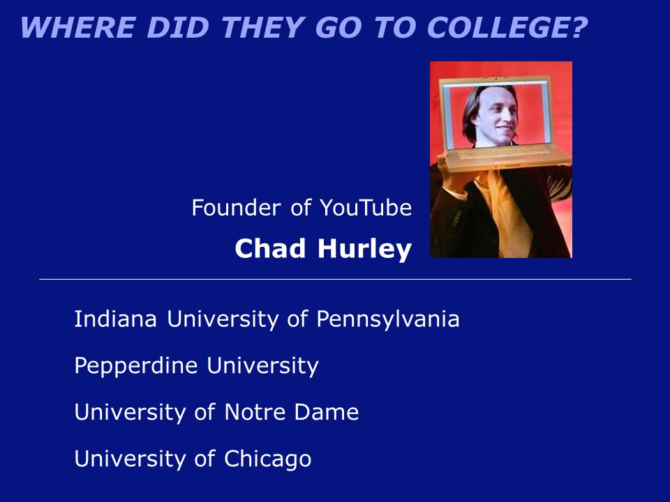 WHERE DID THEY GO TO COLLEGE? Founder of YouTube Chad Hurley University of Chicago Indiana University of Pennsylvania University of Notre Dame Pepperd