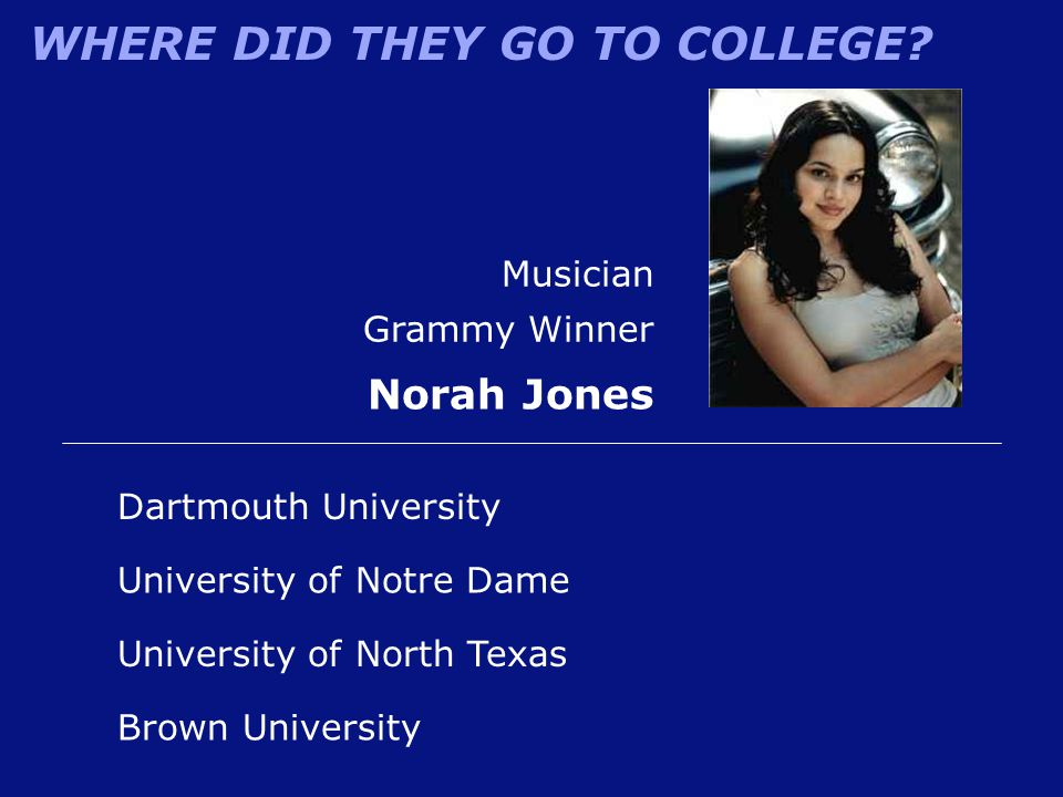 WHERE DID THEY GO TO COLLEGE? Musician Grammy Winner Norah Jones University of North Texas Dartmouth University University of Notre Dame Brown Univers