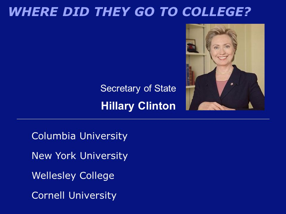 WHERE DID THEY GO TO COLLEGE? Secretary of State Hillary Clinton Columbia University Wellesley College New York University Cornell University