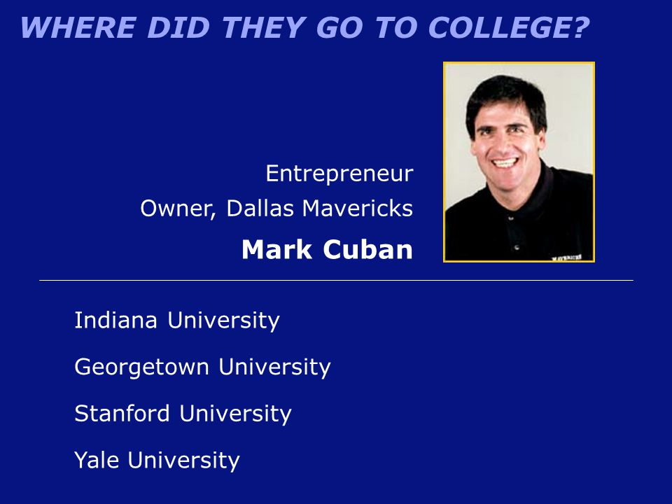 WHERE DID THEY GO TO COLLEGE? Entrepreneur Owner, Dallas Mavericks Mark Cuban Indiana University Stanford University Georgetown University Yale Univer