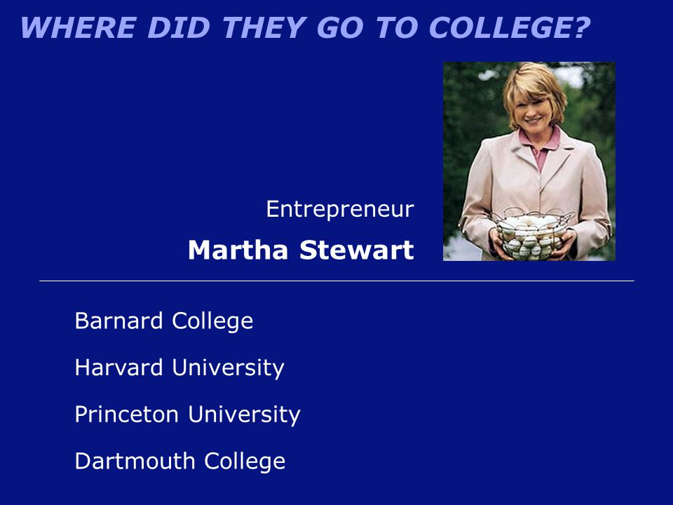 WHERE DID THEY GO TO COLLEGE? Entrepreneur Martha Stewart Barnard College Harvard University Princeton University Dartmouth College