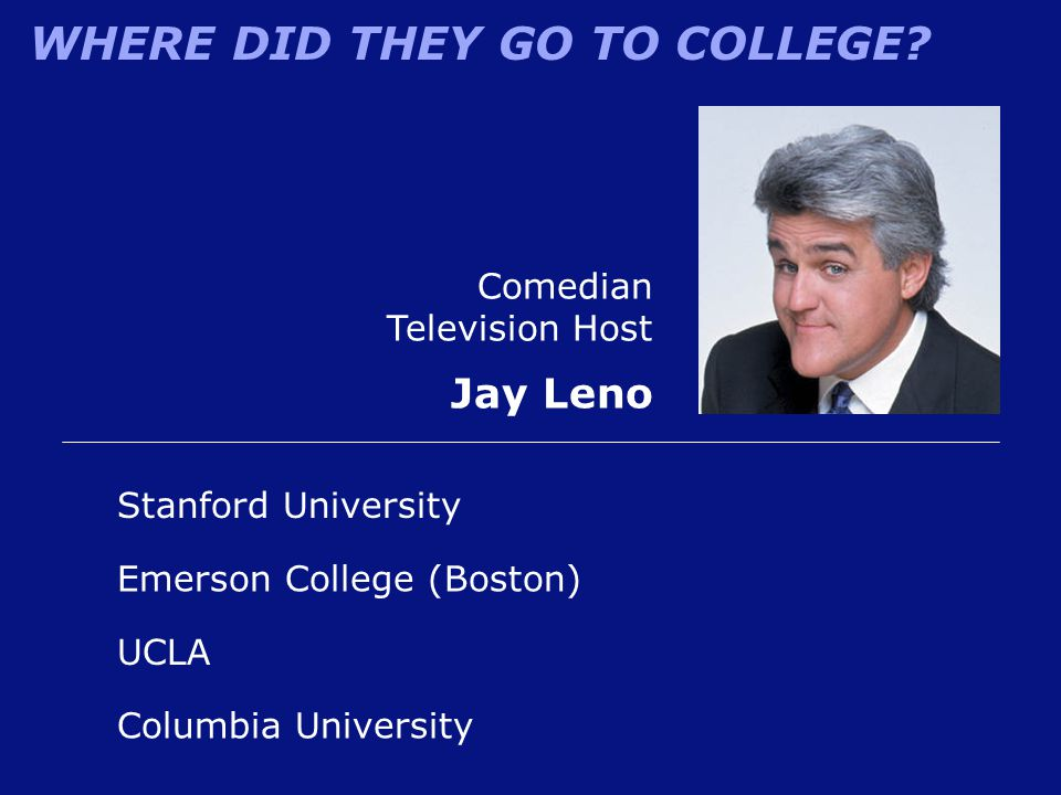 WHERE DID THEY GO TO COLLEGE? Comedian Television Host Jay Leno Emerson College (Boston) Stanford University UCLA Columbia University