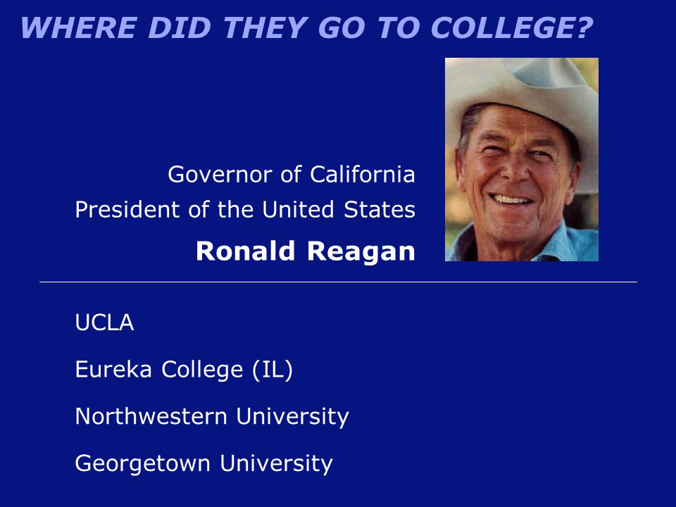 WHERE DID THEY GO TO COLLEGE? Governor of California President of the United States Ronald Reagan Eureka College (IL) UCLA Georgetown University North