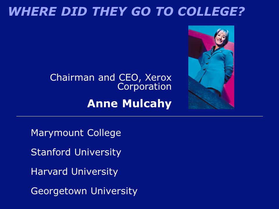 WHERE DID THEY GO TO COLLEGE? Chairman and CEO, Xerox Corporation Anne Mulcahy Marymount College Stanford University Georgetown University Harvard Uni
