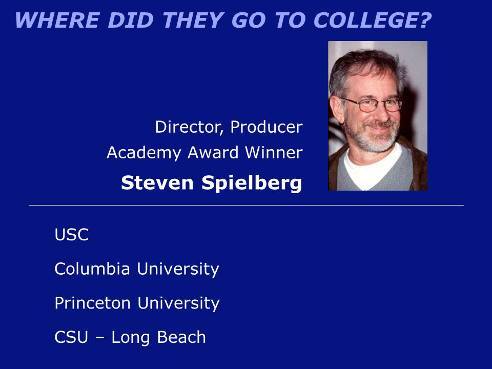 WHERE DID THEY GO TO COLLEGE? Director, Producer Academy Award Winner Steven Spielberg CSU – Long Beach Columbia University USC Princeton University